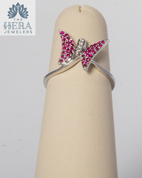 Ruby Diamond Butterfly Ring