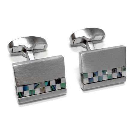 Brushed Mosaic Mother of Pearl Cufflinks