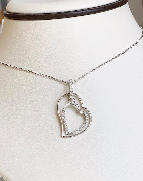 Double Open Heart Diamond Pendant