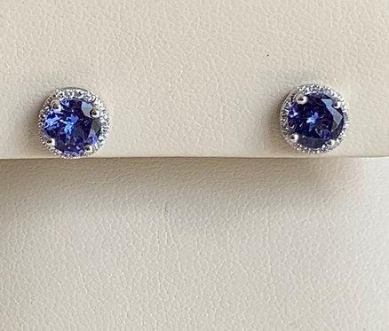 Tanzanite with Diamond Halo Stud Earrings