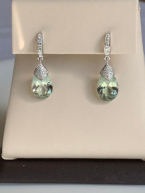 Green Amethyst Huggie Earrings