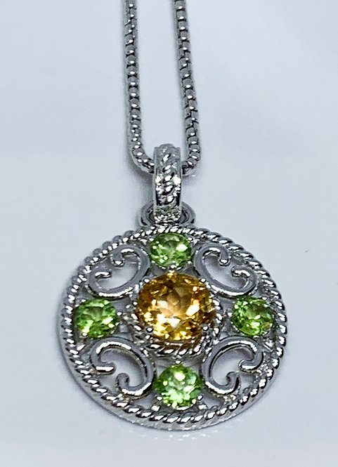 Green Garnet with Yellow Topaz Medallion Pendant on Sterling Silver Necklace