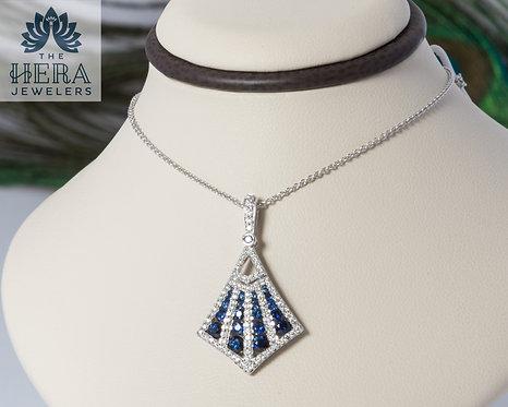 Sapphire and Diamond Fan Pendant
