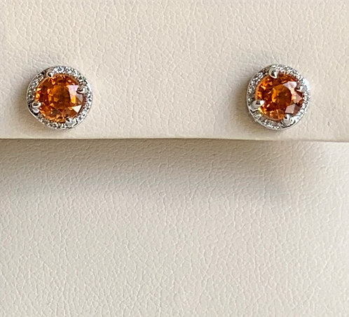 Orange Sapphire with Diamond Halo Stud Earrings