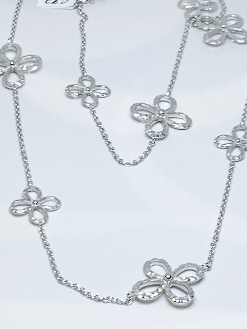 Long Clover Necklace in Sterling Silver