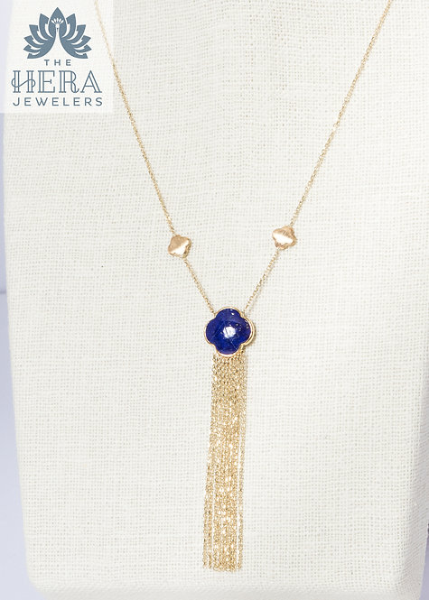 Blue Lapis Tassel Yellow Gold Pendant on Necklace