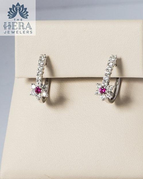 Ruby Diamond Flower Huggie Hoop Earrings