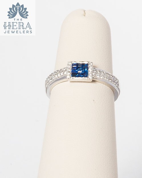 Sapphire and Diamond Square Ring