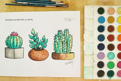 Acuarela: Suculentas y cactus