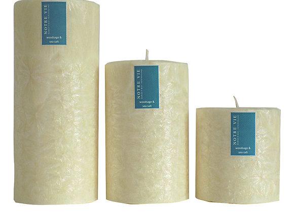 100mm Pillars Woodsage & Sea Salt