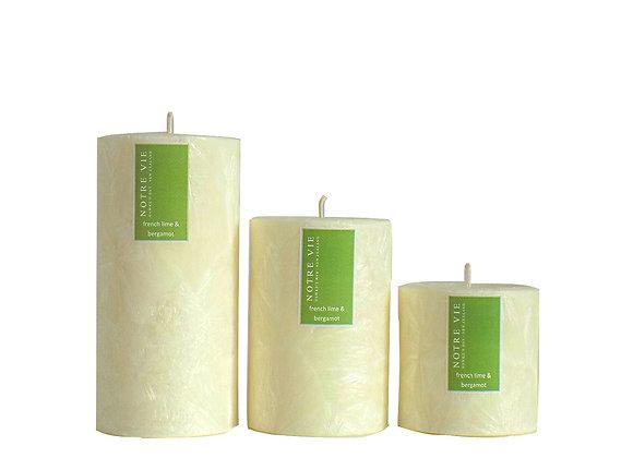 75mm Pillars French Lime & Bergamot