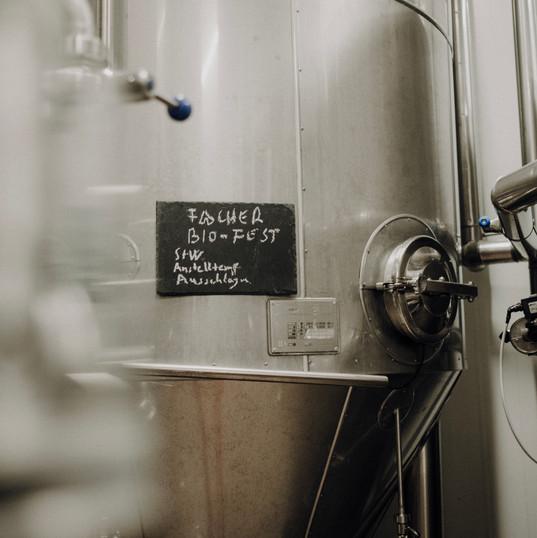 Im Edelstahltank gärt das Bier