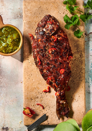 BBQ Sea Bream with Tomatillo Salsa
