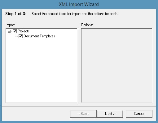 CORE document templates in the  XML Import Wizard