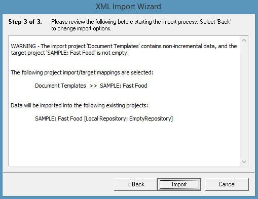 Warning - The import project contains non-incremental data