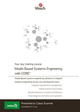 Course outline, Model-based systems engineering, 4 days, South Africa