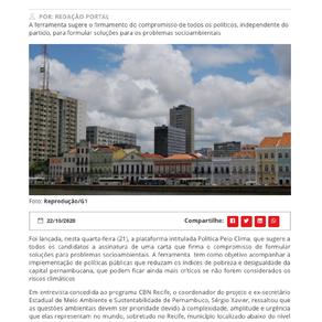 CBN: Plataforma Política Pelo Clima é lançada no Recife