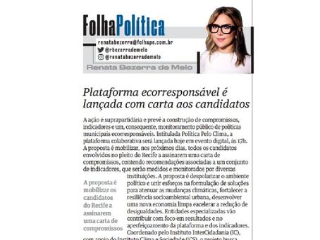 Folha de Pernambuco: Plataforma ecorresponsável é lançada com carta aos candidatos