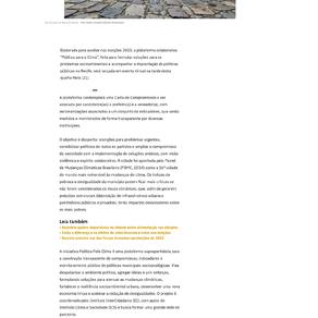 Folha de Pernambuco: Recife ganha plataforma online para enfrentar mudanças climáticas e reduzir...