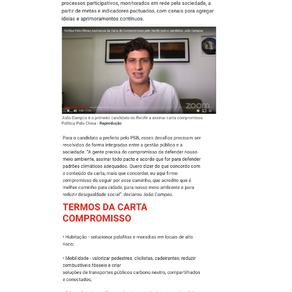 Carta compromisso Política Pelo Clima é assinada pelo candidato a prefeito João Campos