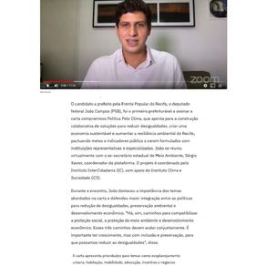 Folha de Pernambuco: João Campos assina carta compromisso política pelo clima