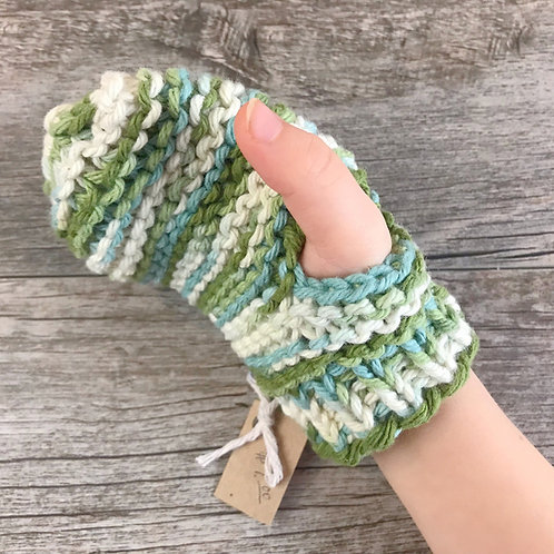 Child and Toddler sized  Knitted Cotton Bath Mitt