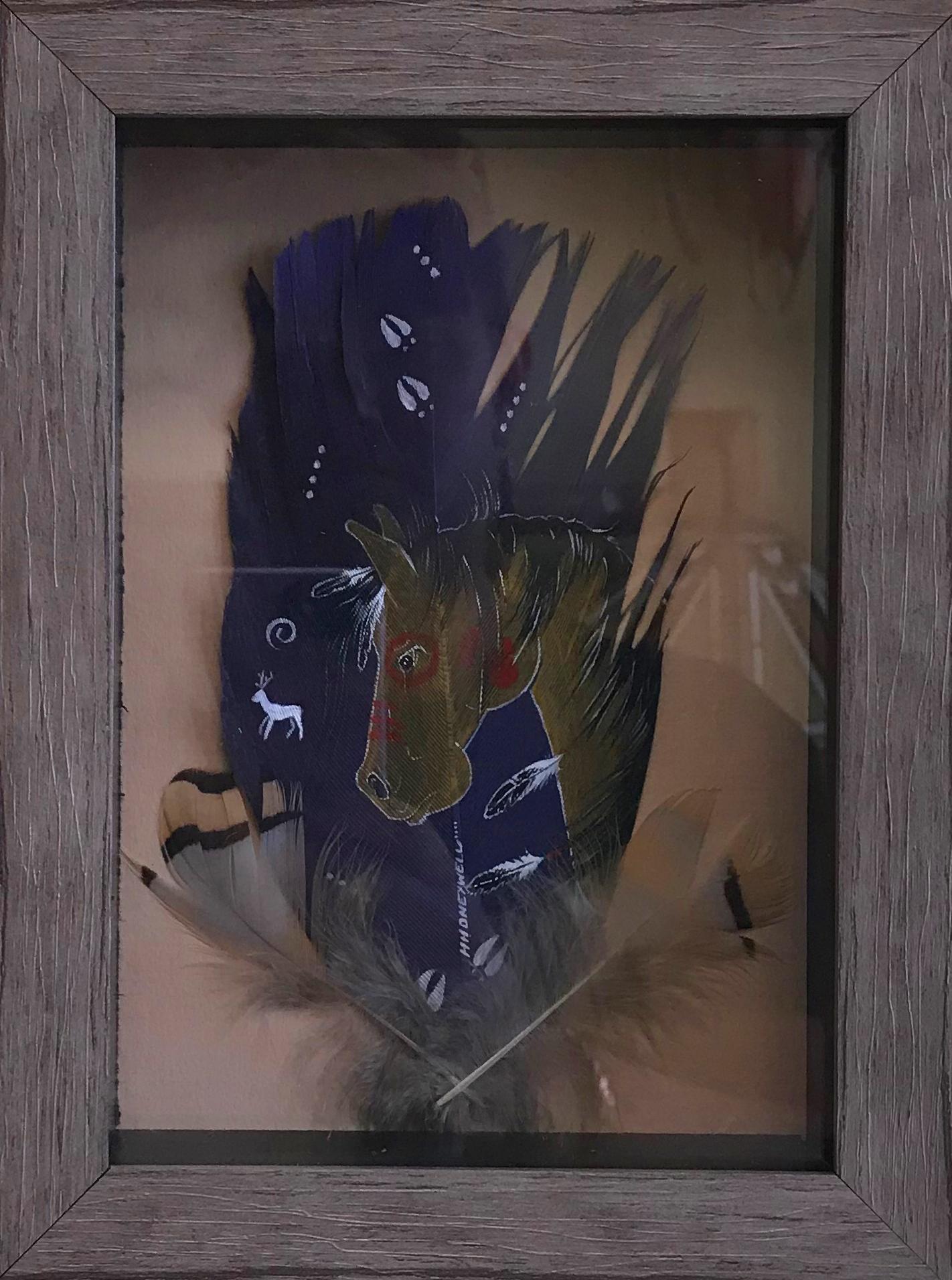 Acrylic on wild turkey feathers - Heather Honeywell horse feather purple