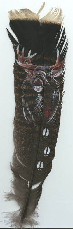 Acrylic on wild turkey feathers - Heather Honeywell