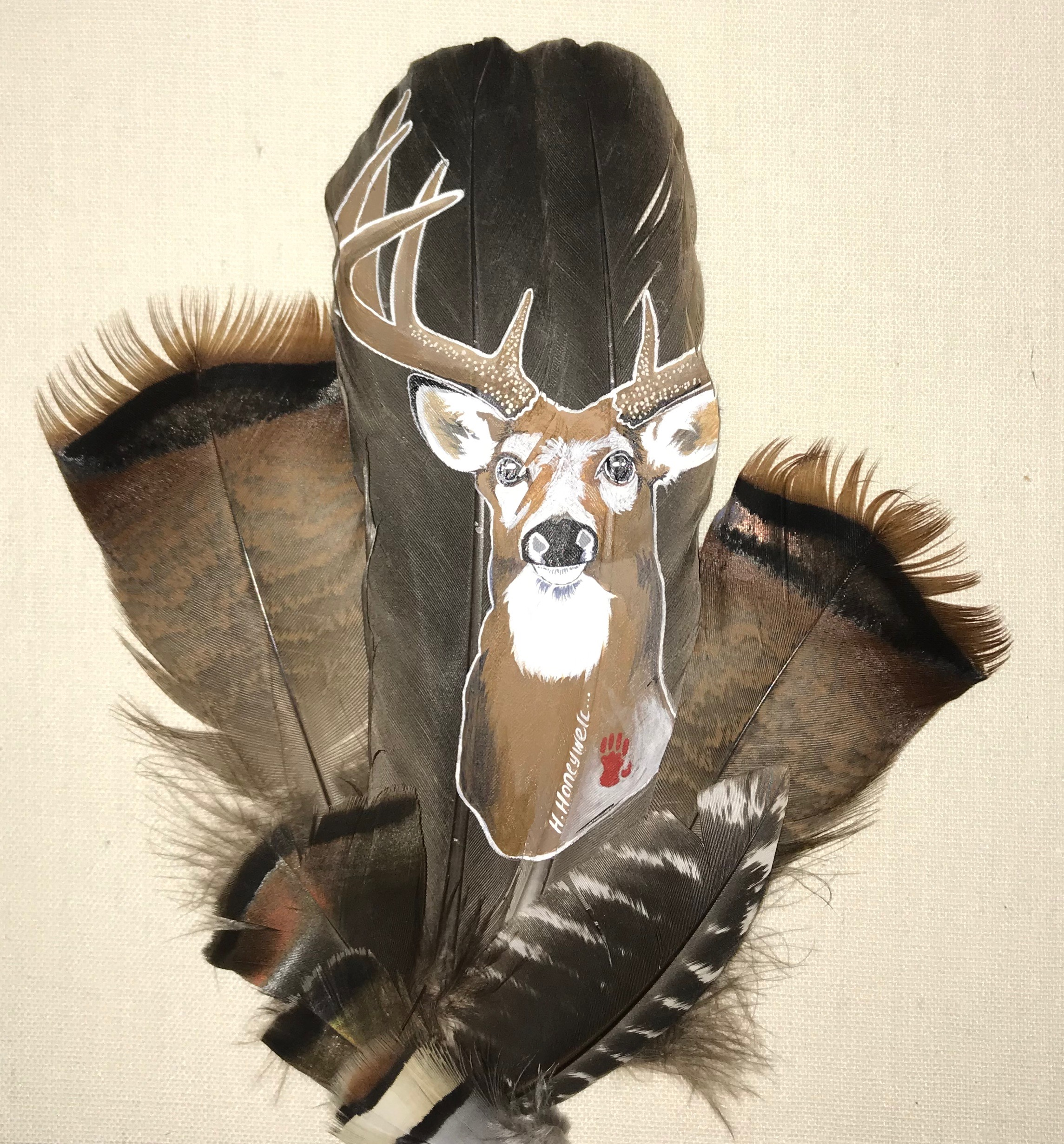 Acrylic on wild turkey feathers - Heather Honeywell