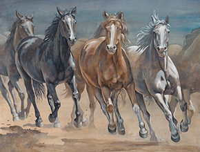 On the Run acrylic painting available in giclee canvas and matted prints. By Jane Vanderzanden