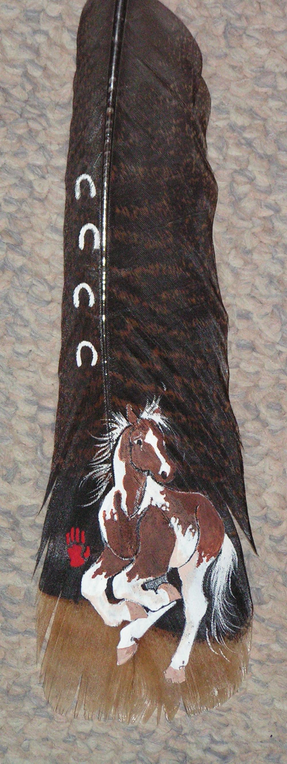 Double H ProduAcrylic on wild turkey feathers - Heather Honeywellctions - paint horse