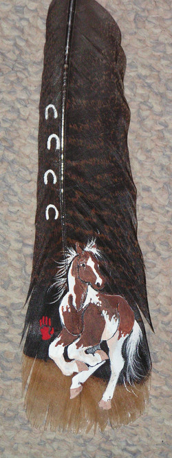 Double H ProduAcrylic on wild turkey feathers - Heather Honeywellctions - paint horse