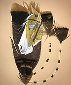 SOLD - Paint Pony. Wild turkey feathers with real porcupine quills by Heather Honeywell