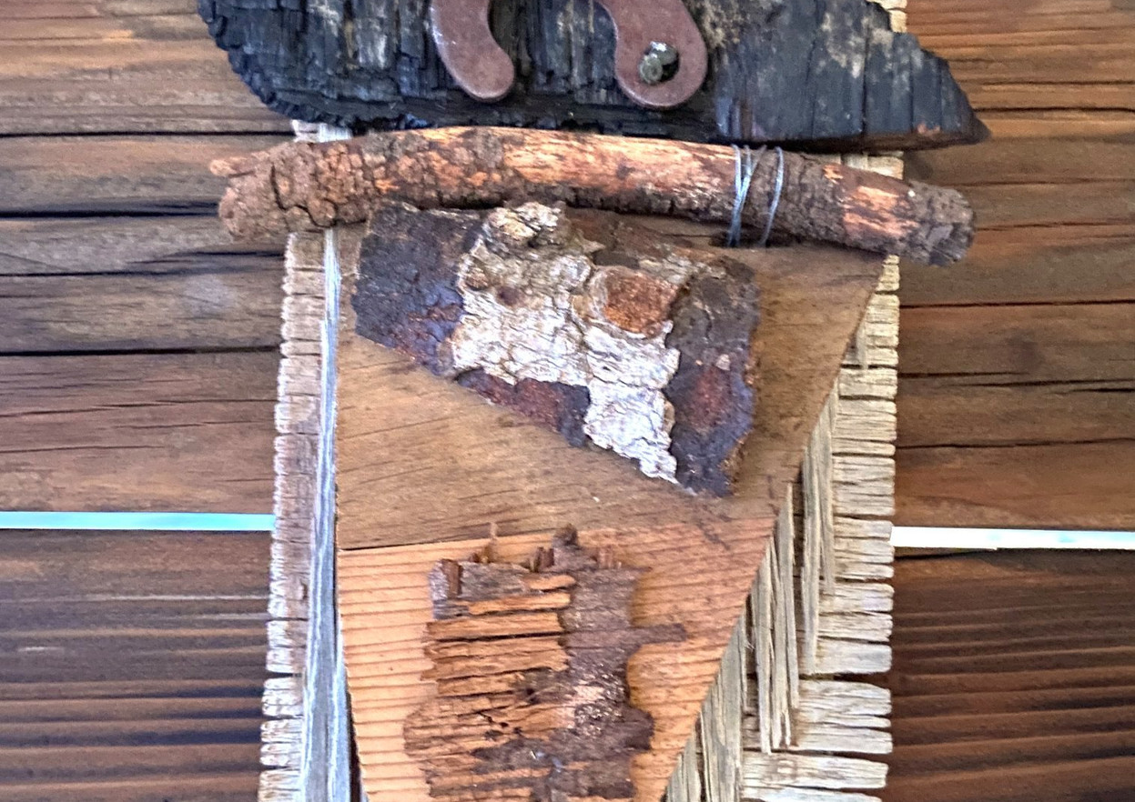 """These 5 pieces are all made from desert detritus; scraps of wood and metal and mystery that are glued, wired, and nailed together. They range in size from 7""""x 10"""" to 14""""x 16"""". None of them are for sale. In the pictures you can see all five, and there are a couple of photos that show a pair as I hung them here at home. I'm posting a short video story called""""What an be transformed?"""" that explains more bout these pieces."""