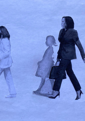 Teddy Quinn  I imagined John Lennon's spirit - bearded and dressed in white - as a crossing guard escorting Vice-President-elect Kamala Harris - whose shadow is that of the young Civil Rights pioneer Ruby Bridges - in this viral 2020 piece by Bria Goeller @briagoeller from a concept by Gordon Jones @goodtrubble