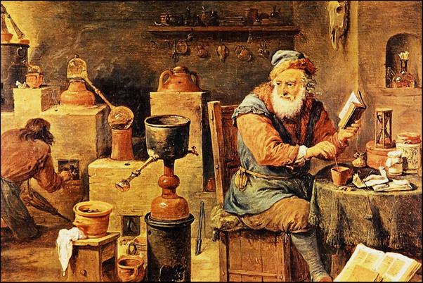 Alchimiste au travail dans son laboratoire