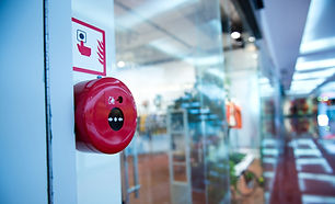 Fire alarm on the wall of shopping cente
