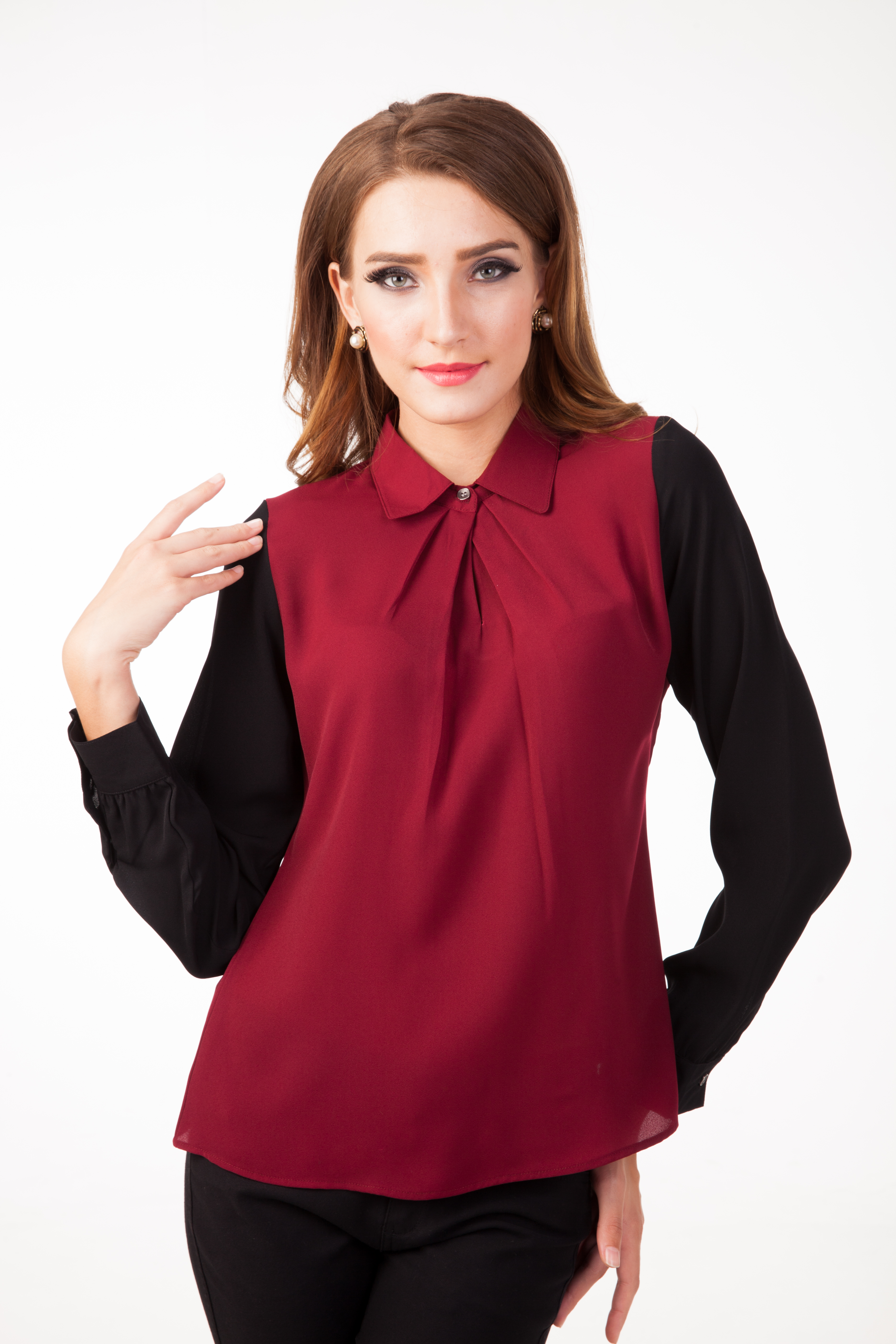 Liam Blouse In Maroon Black - DW140119