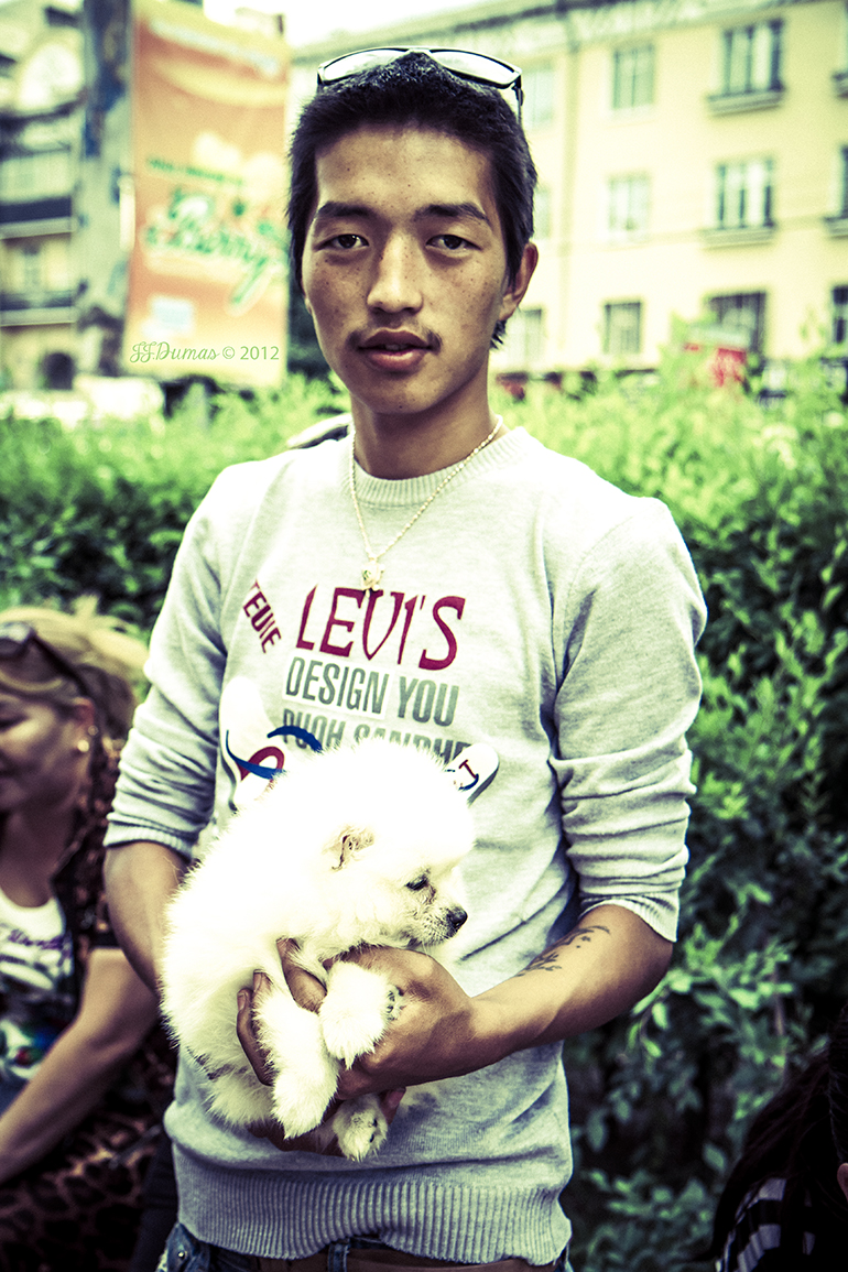 Dog seller in UB - Mongolia