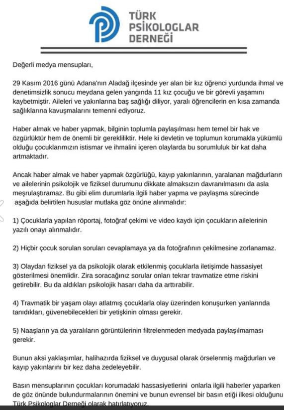Türk Psikologlar Derneği, Basın açıklaması
