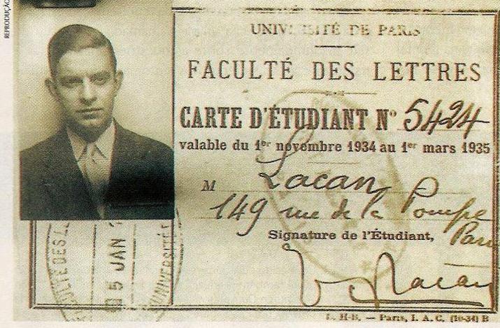 Jacques Lacan, Öğrenci Kartı