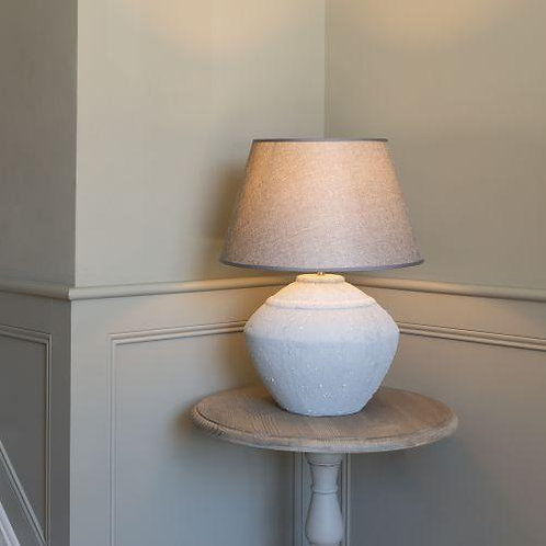 Stoneware Lamp with Grey Lamp Shade