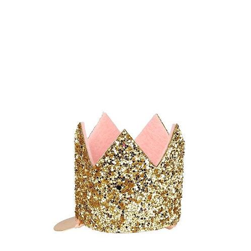 Mini Gold Glitter Crown Hair Clips