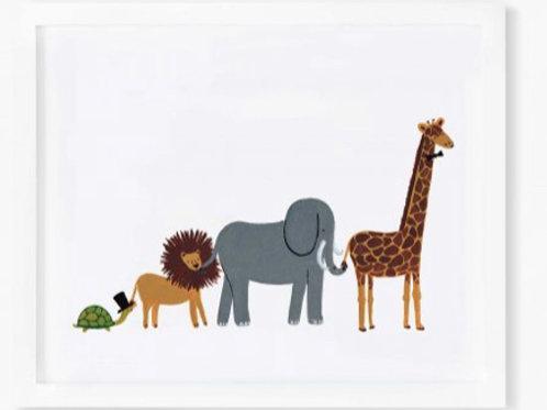Marching Animals Nursery Print