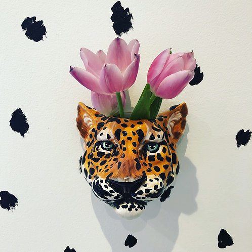 Quirky Leopard Head Wall Mounted Vase