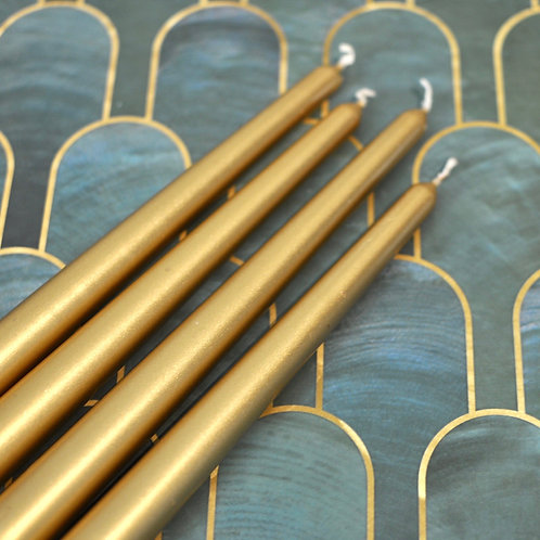 Set of 4 Metallic Gold Tapered Candle Sticks
