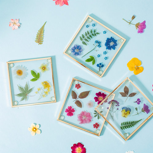 Set of 4 Pressed Flowers Glass Coasters