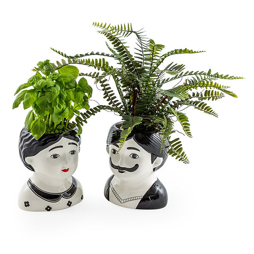 Large Quirky Man and Woman Ceramic Pots