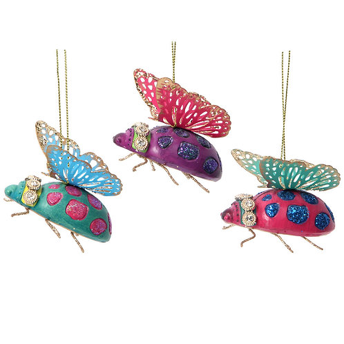 Fantasy Animal Ladybird Tree Decorations with Glitter Wings