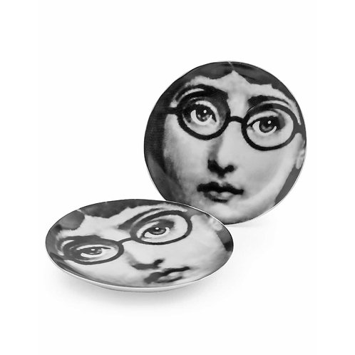 Set of 2 Ceramic Lady with Glasses Plates